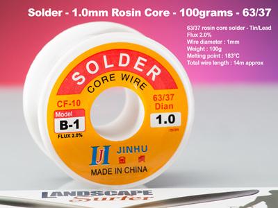 Solder - 1.0mm Rosin Core - 100grams - 63/37