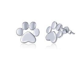 Solid Silver Paw Earrings
