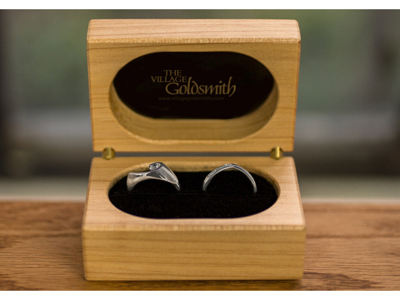 solitaire diamond ring and matching diamond wedding ring in box