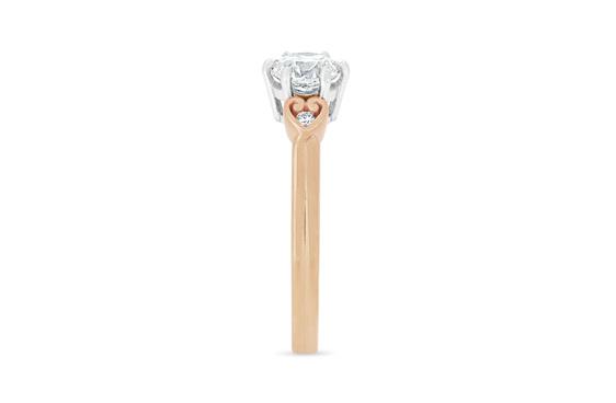 Solitaire engagement ring koru heart diamond band detail nz narrative