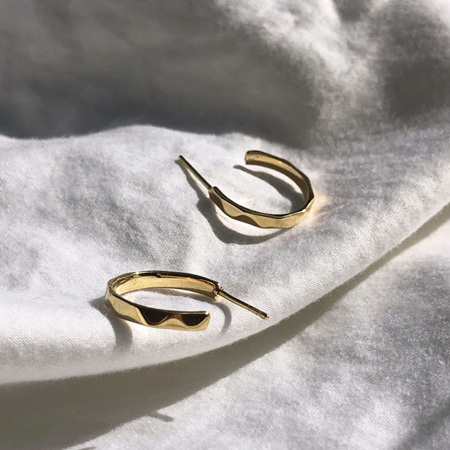 Some 18K Gold Earrings Faceted Hoop - Belle