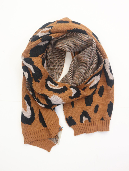 Some Knit Scarf Cheetah - Rust, Black & Taupe