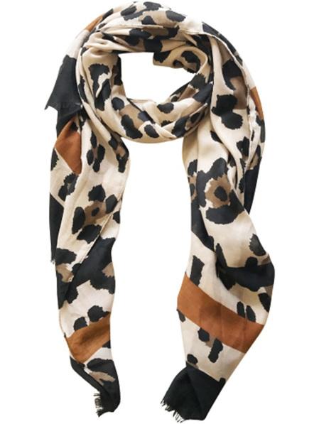 Some Scarf Cheetah - Cream Black Khaki & Rust