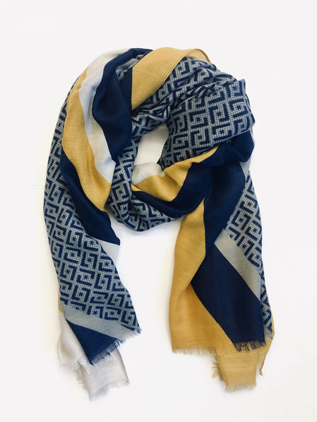Some Scarf Colour Block & Pattern - Navy, Grey & Mustard
