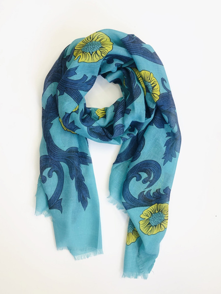Some Scarf Floral - Aqua, Blue & Yellow