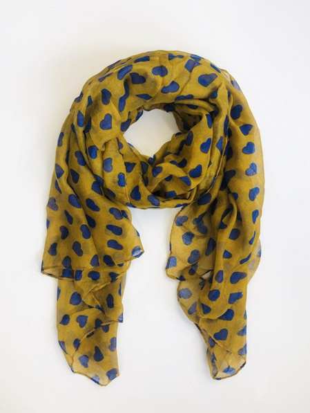 Some Scarf Mustard with Blue Hearts