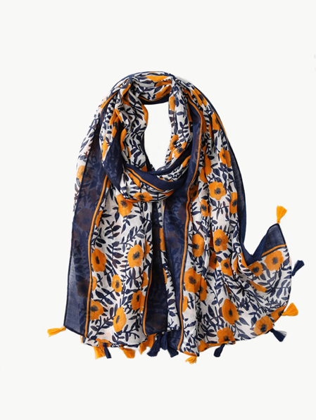 Some Scarf  Navy & White with Orange Flowers