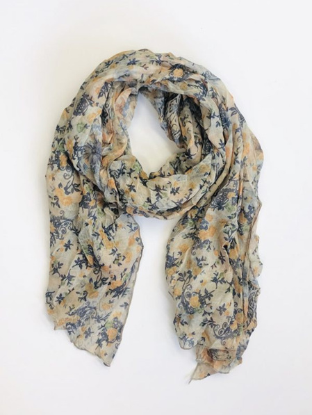 Some Scarf Rose Floral - Cream, Orange & Charcoal
