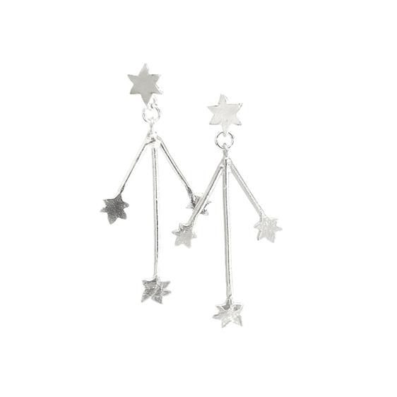southern cross stars statement earrings dangle long sterling silver kinetic