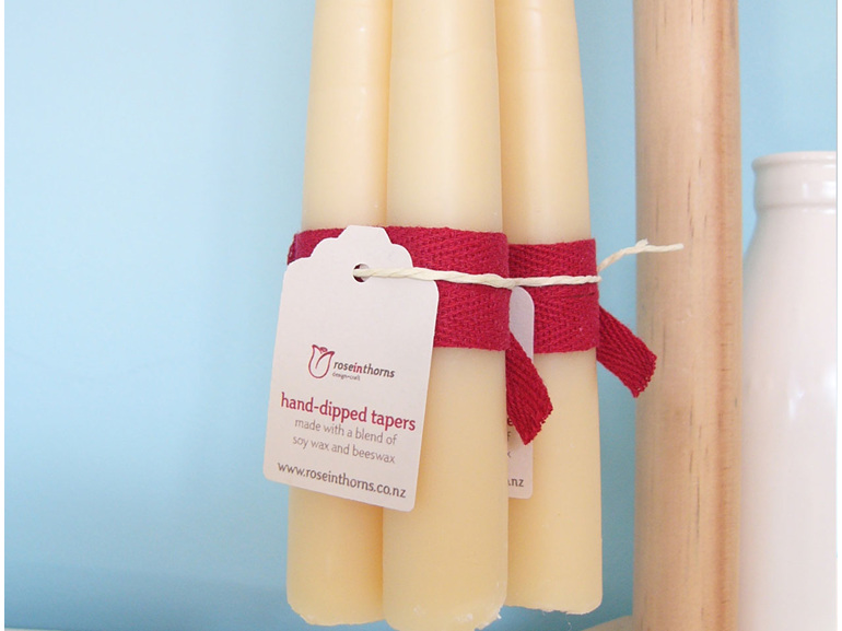 Soy-beeswax blend hand dipped taper candles