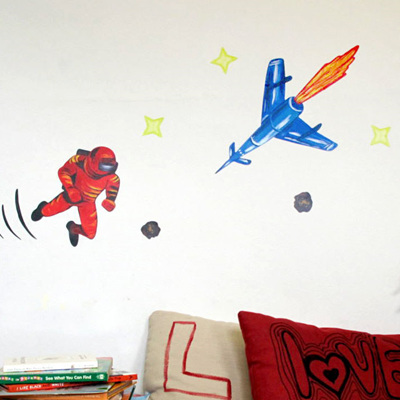 Spaceman Red wall decal