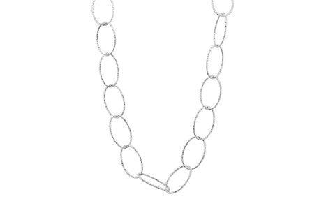 Sparkly Oval Link Sterling Silver Necklace