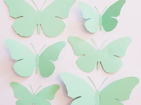Spearmint paper butterflies