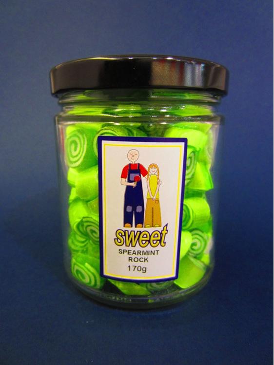 spearmint rock candy jar