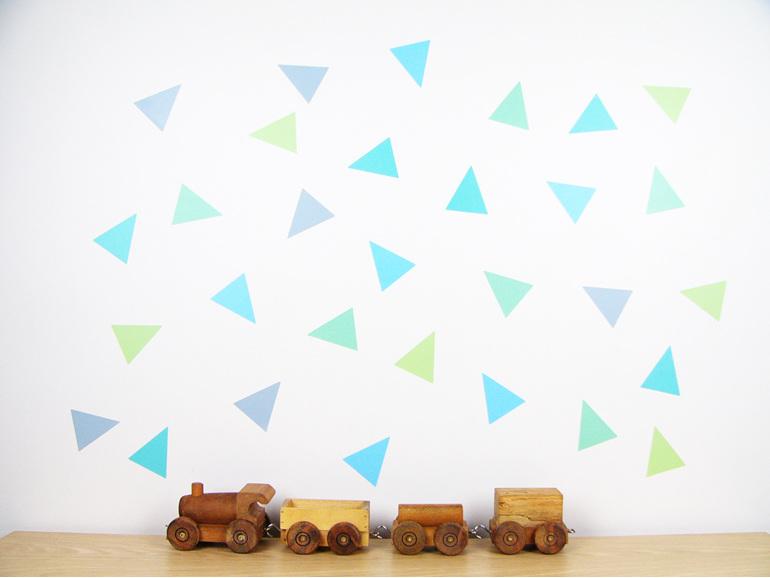 Spearmint Splash triangles wall decals