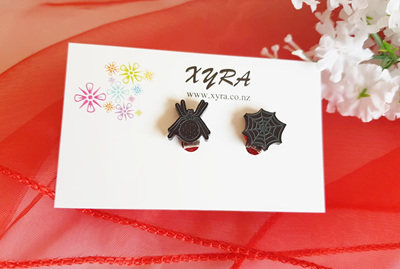 Spider and Web Clip-on Earrings