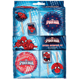 Spiderman cupcake cases & picks x 24 of each