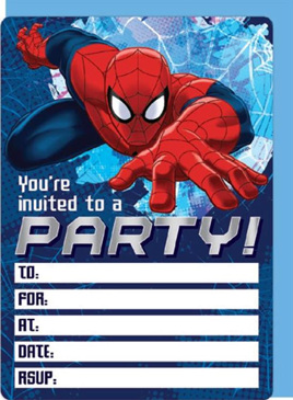 Spiderman party Invites x 16 includes envelopes - NEW