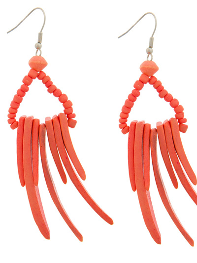SPIKE AND TINY BEAD ON HOOK EARRING ORANGE