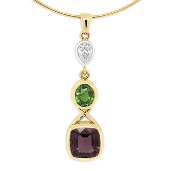 Spinel, Tsavorite and Diamond Pendant