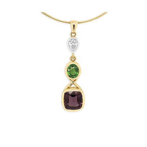 Spinel, Tsavorite and Diamond Pendant