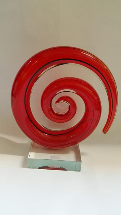 Spiral Glass Red & Black Koru
