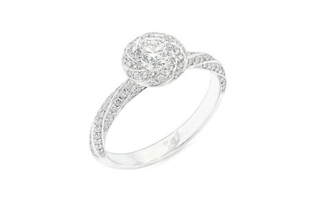 Spiral Halo Diamond Engagement Ring