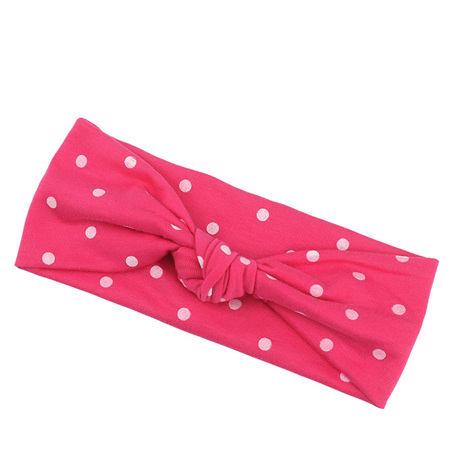 SPOTTED HOT PINK KNOT HEADBAND