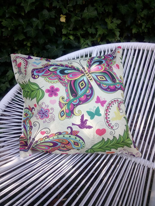 SQUARE BUTTERFLY RETRO CUSHION COVER NO.2