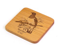 Square Coaster with Engraved Bird