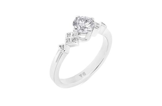 Square Deco Shoulder Style Platinum and Diamond Ring
