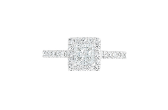 square diamond engagement ring with diamond set band, princess halo cluster ring