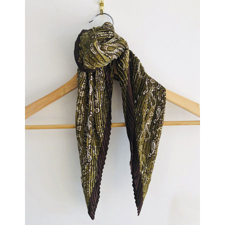 Square Scarf Olive Paisley