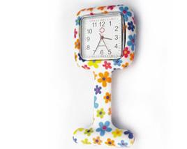 Square White & Floral Print Nurses Watch