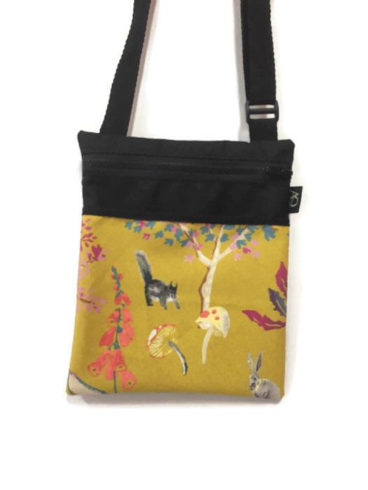 Squirrel and rabbit handbag in mustard fabric