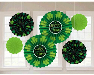 St Patrick's Day paper fan decorations