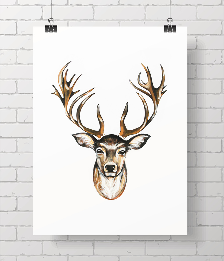 stag on white