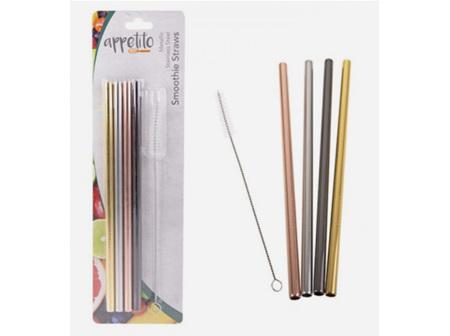 Stainless Steel Metallic Smoothie Straws 4 pack