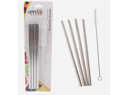 Stainless Steel Smoothie Straws 4 pack