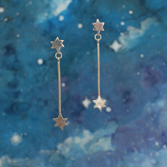 star stars pointer dangle long statement drop sterling silver studs