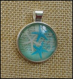 Starfish Glass Dome Key Ring