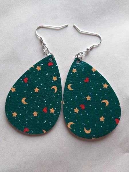 Stars, Hearts & Moons Green Teardrop Earring