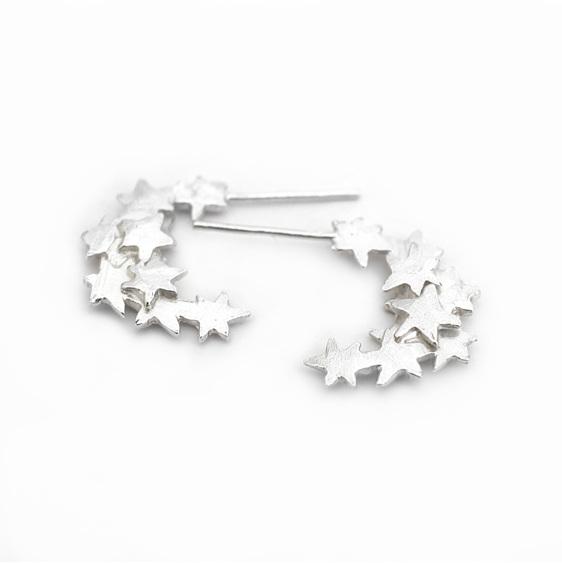 stars moon crescent hoop earrings sterling silver studs celestial magical