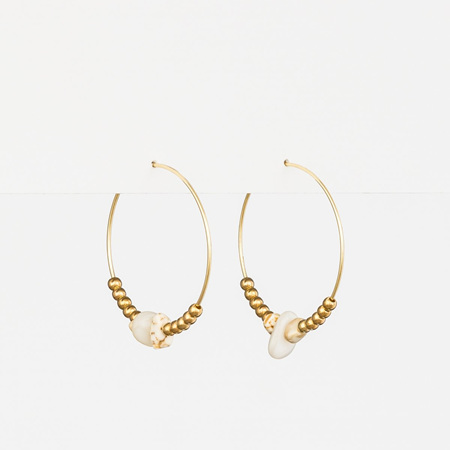 Stella + Gemma Earring Hoop Gold Beads WHT JAD