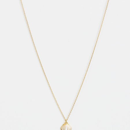 Stella + Gemma Necklace Cockle Shell White with Gold