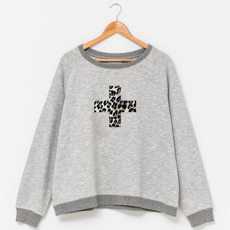 Stella & Gemma - Sweater Grey w Leopard Cross