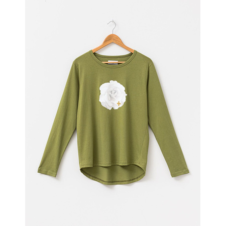 STELLA+GEMMA  Long sleeve tee army with white rose.