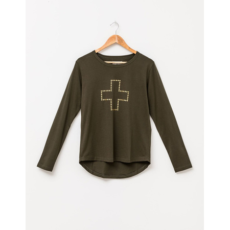 STELLA+GEMMA Long sleeve tee Forest Green with Gold Cross