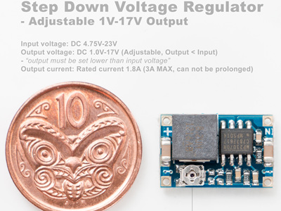 Step Down Voltage Regulator - Adjustable 1V-17V Output