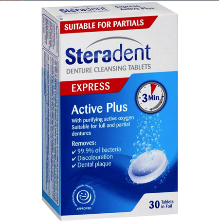 STERADENT EXPRESS DENTURE CLEANING TABLETS 3 MINUTES - 30 PACK